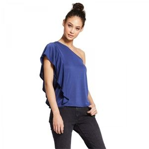 NWT Mossimo One Shoulder Ruffle Top Large Blue